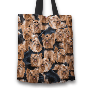 Designs by MyUtopia Shout Out:Beagles all over print Dog Collage Fabric Totebag Reusable Shopping Tote,Yorkshire Terrier Collage,Reusable Fabric Shopping Tote Bag