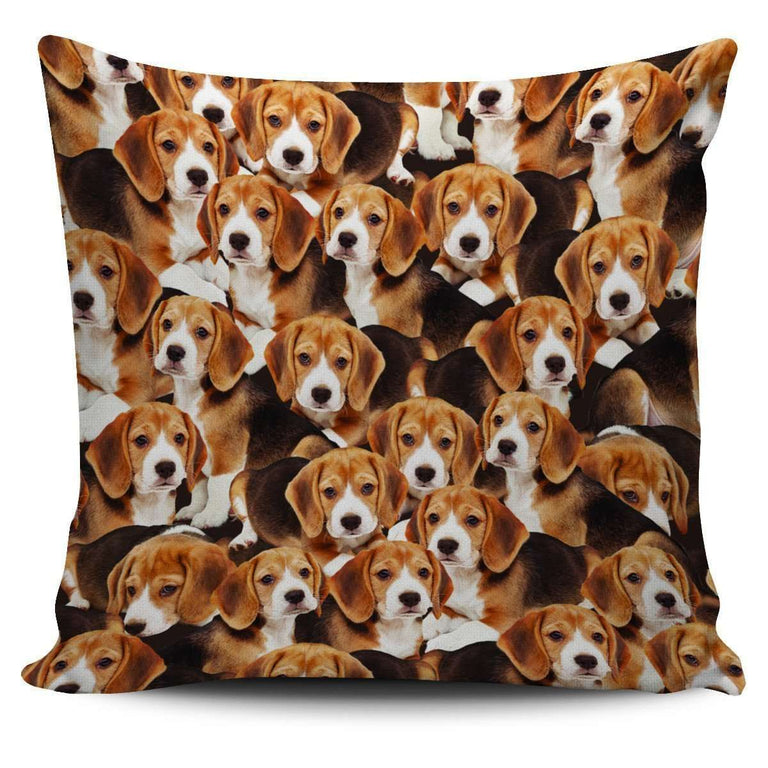 Designs by MyUtopia Shout Out:Beagles all over print Dog Collage Pillowcases,Beagle Puppy Collage,Pillowcases