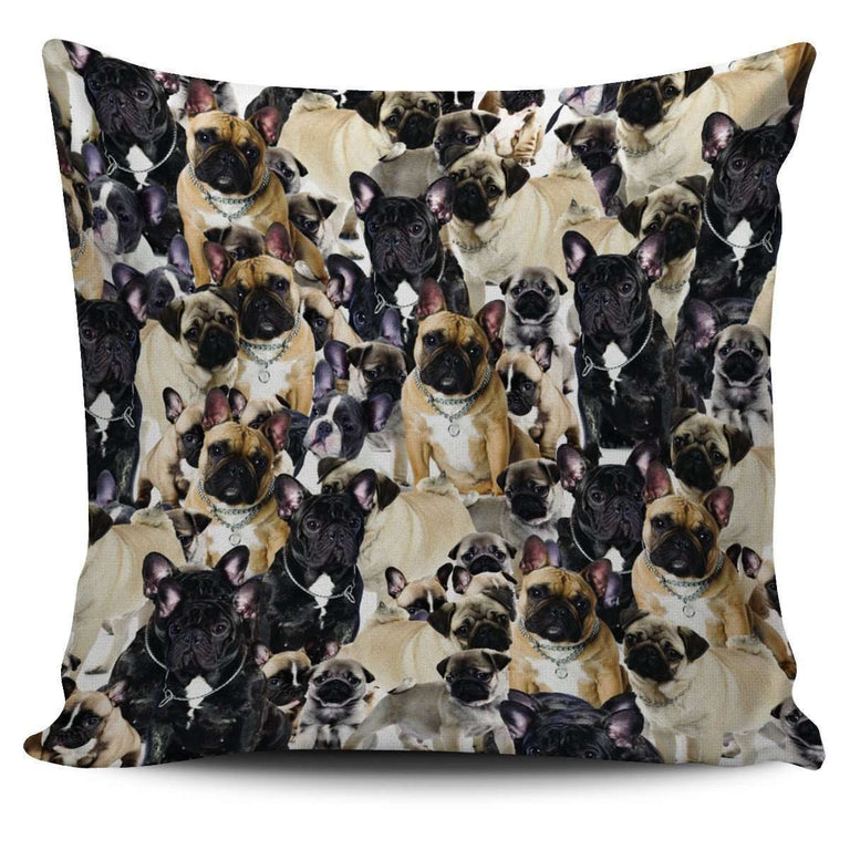 Designs by MyUtopia Shout Out:Beagles all over print Dog Collage Pillowcases,French Bulldog Collage,Pillowcases