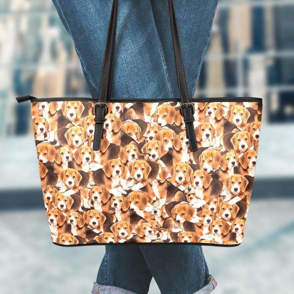 Designs by MyUtopia Shout Out:Beagles all over print Faux Leather Totebag (Medium),10 Tall x 16 x 5 inches / Tan,tote bag purse