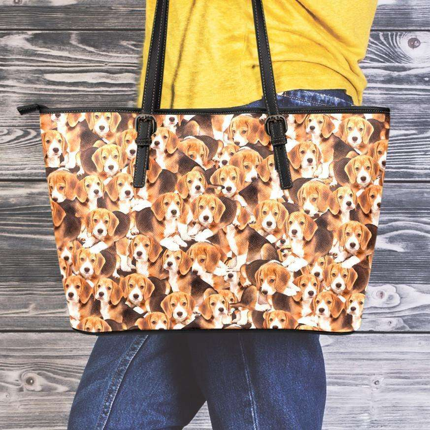 Designs by MyUtopia Shout Out:Beagles All Over Print Faux Leather Totebag Purse,Medium (10 x 16 x 5) / Brown,tote bag purse
