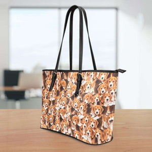 Designs by MyUtopia Shout Out:Beagles All Over Print Faux Leather Totebag Purse
