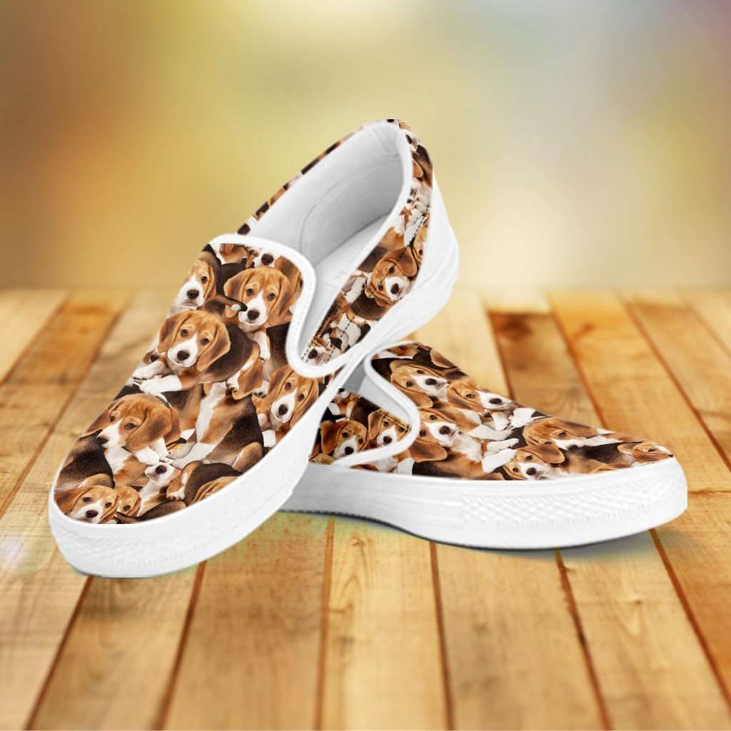 Designs by MyUtopia Shout Out:Beagles Womens Slip-on Shoes,Women's / Women's US6 (EU36) / Brown,Slip on sneakers