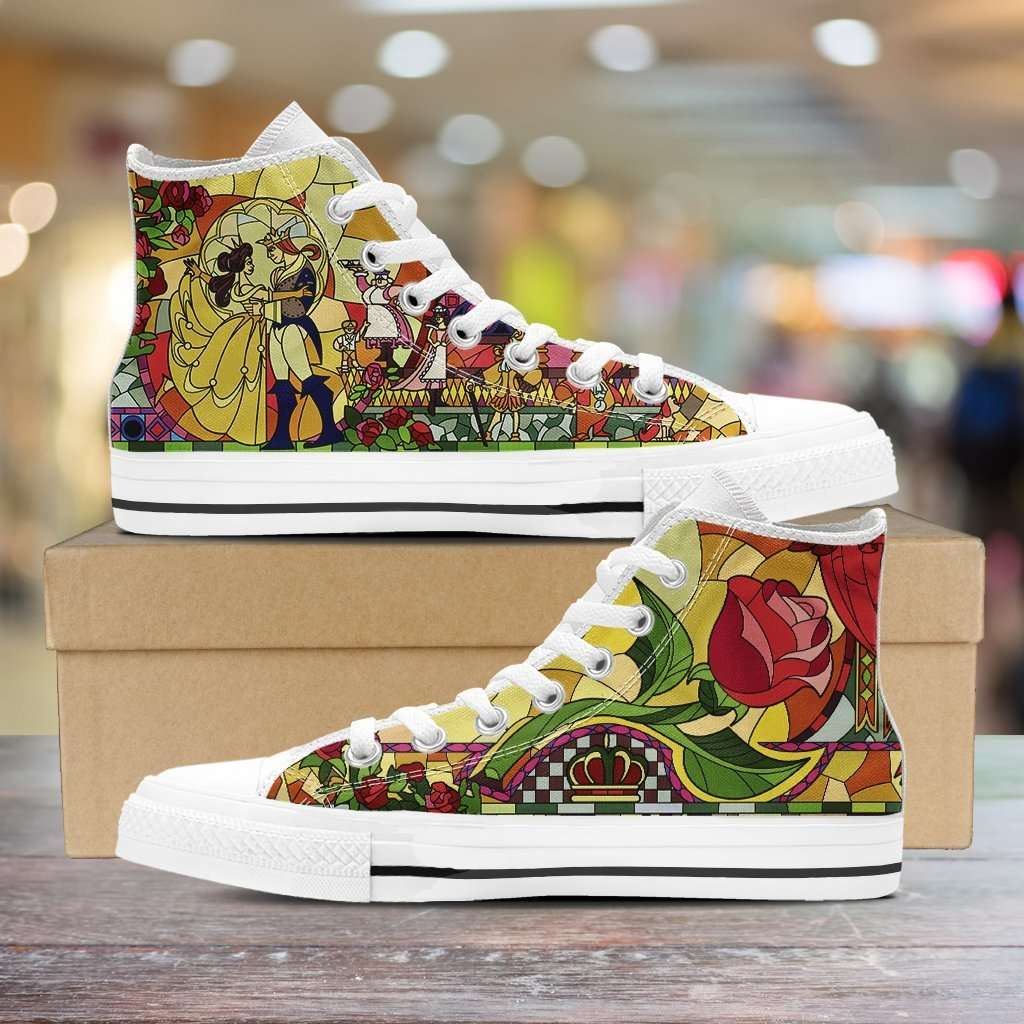 Designs by MyUtopia Shout Out:Beauty and the Beast Canvas High Top Shoes V2,Men's / Mens US 5 (EU38) / White/Multi,High Top Sneakers