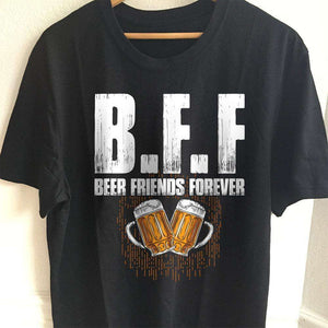 Designs by MyUtopia Shout Out:Beer Friends Forever Drinking Humor Unisex T-Shirt,S / Black,Adult Unisex T-Shirt