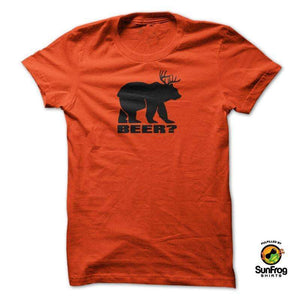 Designs by MyUtopia Shout Out:Beer?,Orange / S / T-shirt-Unisex/Men's,Adult Unisex T-Shirt