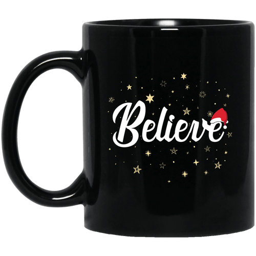 Designs by MyUtopia Shout Out:Believe - Ceramic Coffee Mug - Black,11 oz / Black,Ceramic Coffee Mug
