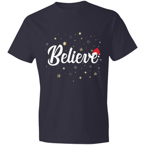 Designs by MyUtopia Shout Out:Believe - Lightweight Unisex T-Shirt,Navy / S,Adult Unisex T-Shirt