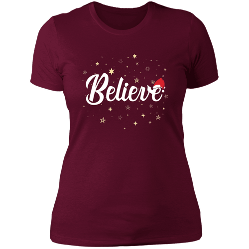 Designs by MyUtopia Shout Out:Believe - Ultra Cotton Ladies' T-Shirt,Maroon / X-Small,Ladies T-Shirts