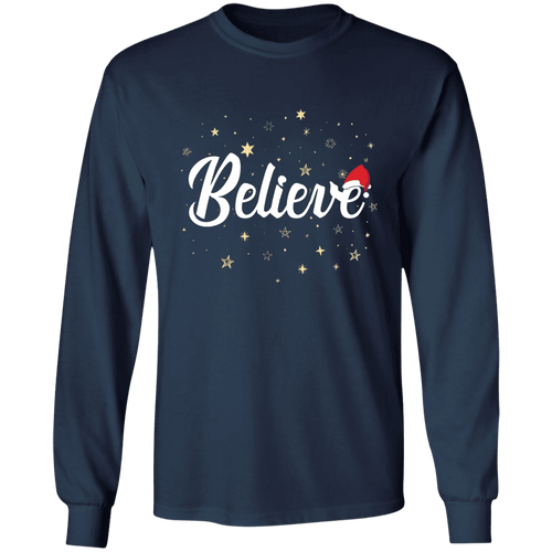 Designs by MyUtopia Shout Out:Believe - Ultra Cotton Long Sleeve T-Shirt,Navy / S,Long Sleeve T-Shirts