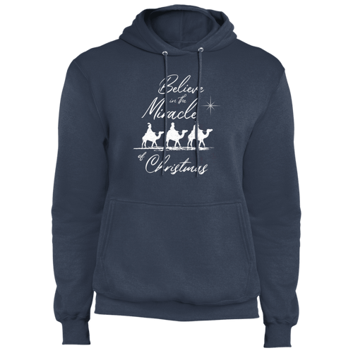Designs by MyUtopia Shout Out:Believe in the Miracle - Core Fleece Unisex Pullover Hoodie,Navy / S,Sweatshirts