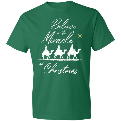 Designs by MyUtopia Shout Out:Believe in the Miracle - Lightweight T-Shirt,Kelly Green / S,Adult Unisex T-Shirt