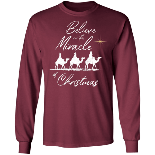 Designs by MyUtopia Shout Out:Believe in the Miracle - Ultra Cotton Long Sleeve T-Shirt,Maroon / S,Long Sleeve T-Shirts