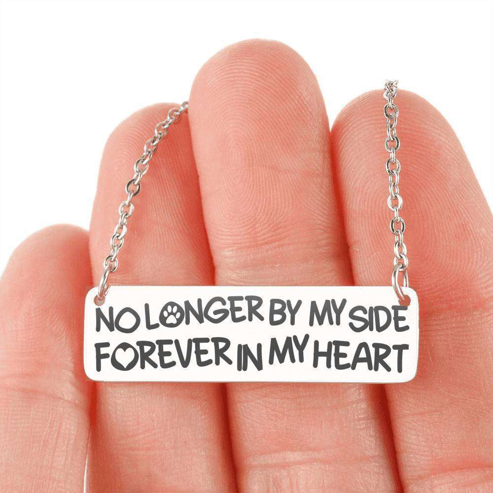 "Designs by MyUtopia Shout Out:Best Friend Tribute ""No Longer by my Side, Forever in my Heart"" Engraved Personalized Bar Necklace,Stainless Steel Horizontal Bar Necklace / No,Jewelry"