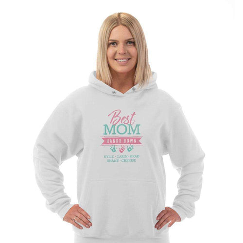 Designs by MyUtopia Shout Out:Best Mom Hands Down Personalized Adult Hoodie