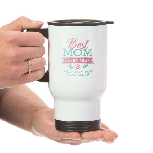 Designs by MyUtopia Shout Out:Best Mom Hands Down Personalized with Kid's Names 14 oz Stainless Steel Travel Coffee Mug w. Twist Close Lid