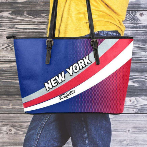 Designs by MyUtopia Shout Out:#BigBlue New York Giants Fan Faux Leather Totebag Purse,Medium (10 x 16 x 5) Inches / Red/Blue,tote bag purse
