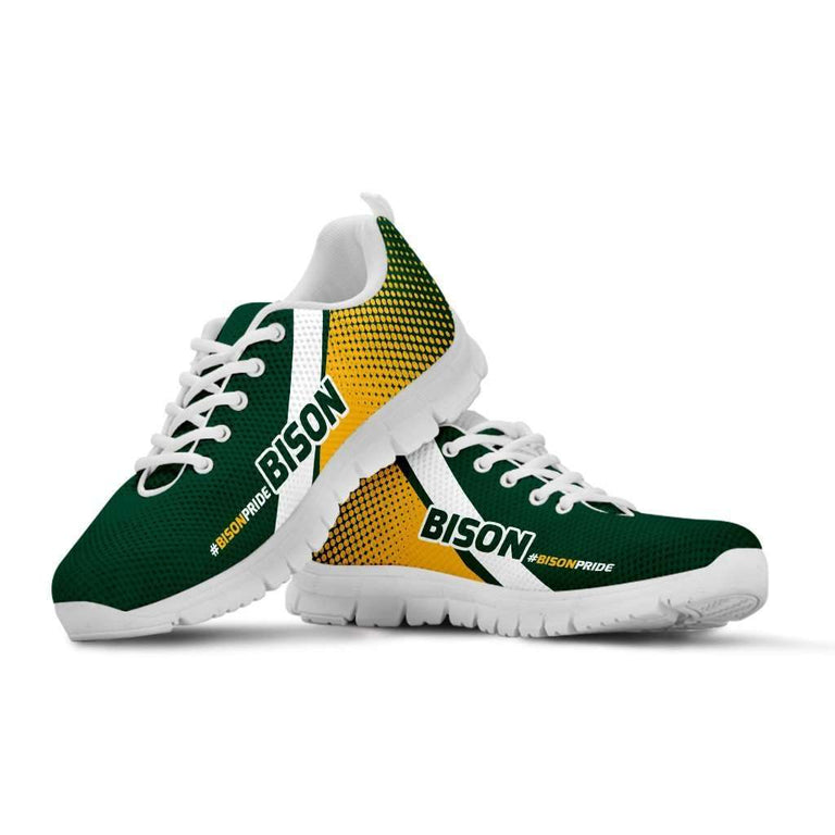 Designs by MyUtopia Shout Out:#BISONPRIDE North Dakota Fan Running Shoes,Kid's / 11 CHILD (EU28) / Green/Yellow,Running Shoes
