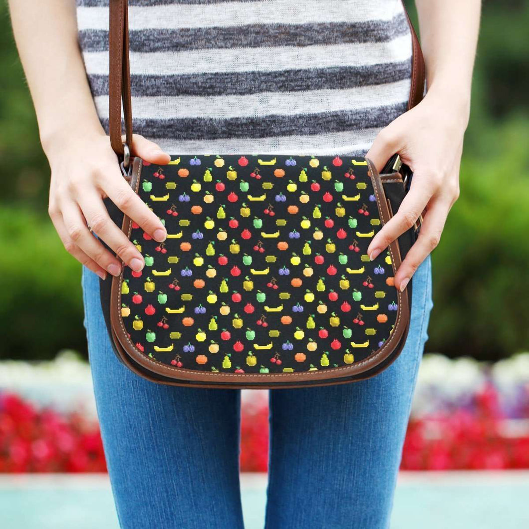 Designs by MyUtopia Shout Out:Bitmap Fruit all over print Canvas Saddlebag Style Crossbody Purse
