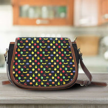 Load image into Gallery viewer, Designs by MyUtopia Shout Out:Bitmap Fruit all over print Canvas Saddlebag Style Crossbody Purse
