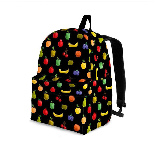 Designs by MyUtopia Shout Out:Bitmap Fruit Backpack,Large (18 x 14 x 8 inches) / Adult (Ages 13+) / Black/Multicolor,Backpacks
