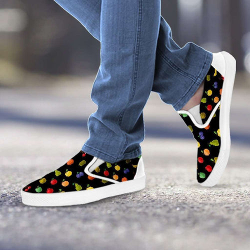 Designs by MyUtopia Shout Out:Bitmap Fruit Slip-on Shoes,Women's / Women's US6 (EU36) / Black,Slip on sneakers