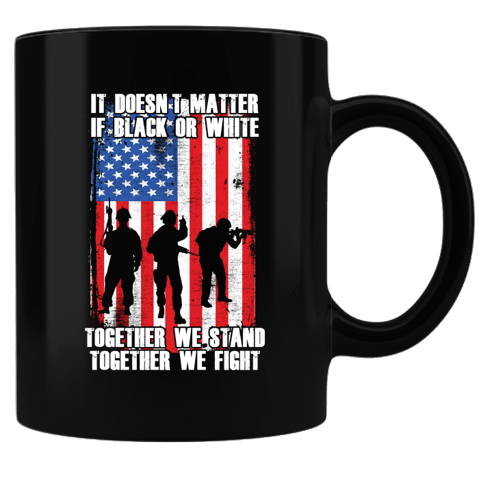 Designs by MyUtopia Shout Out:Black or White Together We Stand & Fight US Flag Ceramic Coffee Mug,Black,Ceramic Coffee Mug