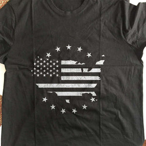 Designs by MyUtopia Shout Out:Black & White US Flag US Map Adult Unisex T-Shirt