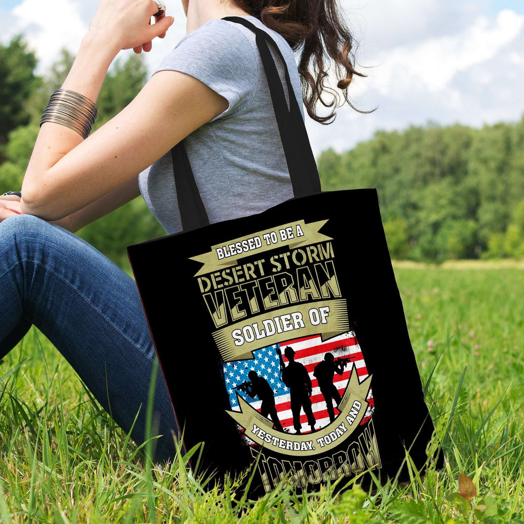 Designs by MyUtopia Shout Out:Blessed to be a Desert Storm Veteran Soldier of Yesterday Today and Tomorrow. Fabric Totebag Reusable Shopping Tote