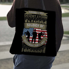 Load image into Gallery viewer, Designs by MyUtopia Shout Out:Blessed to be a Desert Storm Veteran Soldier of Yesterday Today and Tomorrow. Fabric Totebag Reusable Shopping Tote