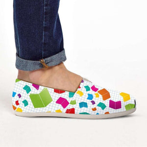 Designs by MyUtopia Shout Out:Books All Over Print Casual Canvas Slip on Shoes Women's Flats