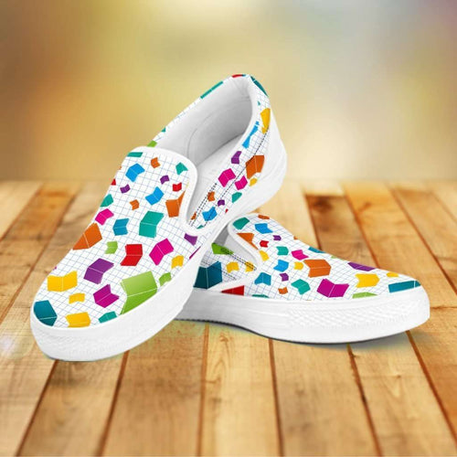 Designs by MyUtopia Shout Out:Books All Over Print Slip-on Shoes,Women's / Women's US6 (EU36) / White,Slip on sneakers