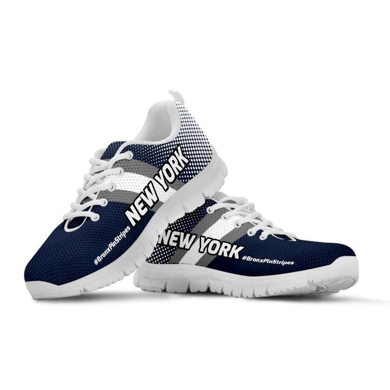 Designs by MyUtopia Shout Out:#BronxPinStripe New York Fan Running Shoes,Kid's / 11 CHILD (EU28) / Blue/White,Running Shoes