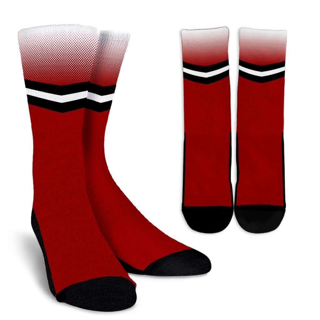 Designs by MyUtopia Shout Out:#BuckyNation Wisconsin Crew Socks,Red / White / Small/Medium,Socks