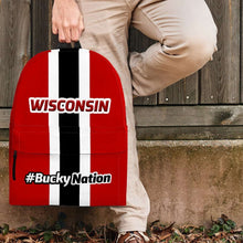 Load image into Gallery viewer, Designs by MyUtopia Shout Out:#BuckyNation Wisconsin Fan Backpack