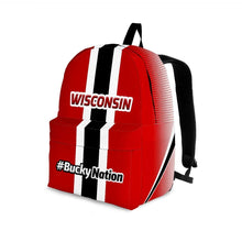Load image into Gallery viewer, Designs by MyUtopia Shout Out:#BuckyNation Wisconsin Fan Backpack,Large (18 x 14 x 8 inches) / Adult (Ages 13+) / Red/Black/White,Backpacks