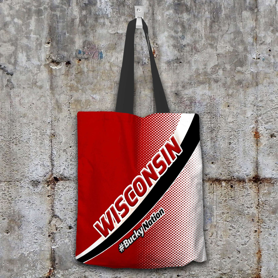 Designs by MyUtopia Shout Out:#BuckyNation Wisconsin Fan Fabric Totebag Reusable Shopping Tote