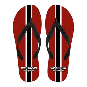 Designs by MyUtopia Shout Out:#BuckyNation Wisconsin Fan Flip Flops,Men's / Men's Small (US 7-8 /EU 40-42),Flip Flops
