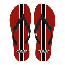 Load image into Gallery viewer, Designs by MyUtopia Shout Out:#BuckyNation Wisconsin Fan Flip Flops,Ladies / Ladies Small (US 5-6 /EU 35-37),Flip Flops