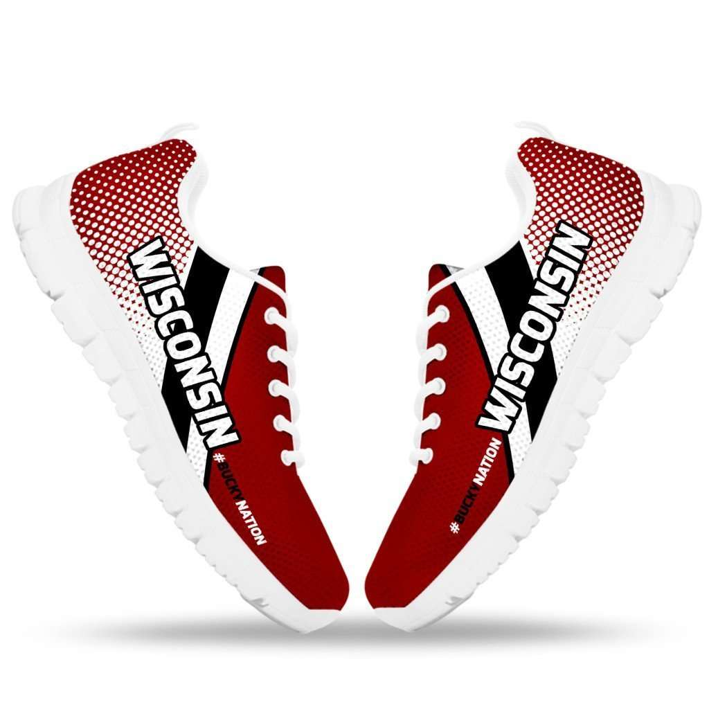 Designs by MyUtopia Shout Out:#BuckyNation Wisconsin Fan Running Shoes