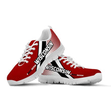 Load image into Gallery viewer, Designs by MyUtopia Shout Out:#BuckyNation Wisconsin Fan Running Shoes,Mens US5 (EU38) / White/Red/Black,Running Shoes