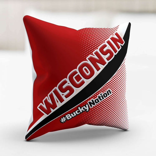Designs by MyUtopia Shout Out:#BuckyNation Wisconsin Pillowcase