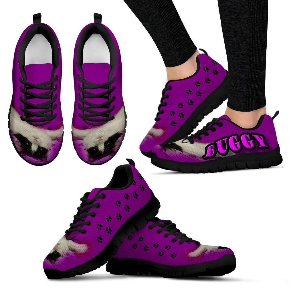 Designs by MyUtopia Shout Out:Buggy The Cat Running Shoes,Womens / Womens US5 (EU35) / Purple,Running Shoes