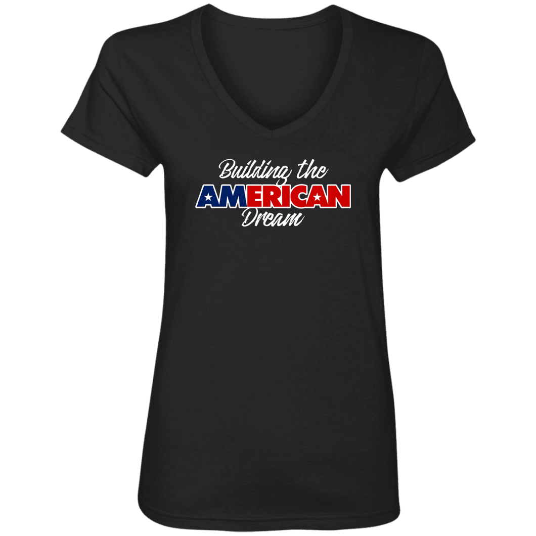 Designs by MyUtopia Shout Out:Building the American Dream Ladies' V-Neck T-Shirt,Black / S,Ladies T-Shirts