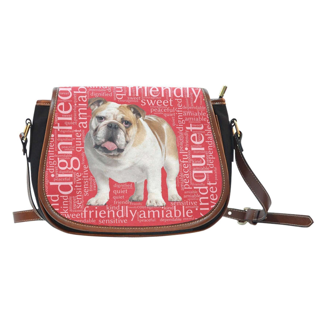Designs by MyUtopia Shout Out:Bull Dog Word Cloud Canvas Saddlebag Style Crossbody Purse,Left Red,Cross-Body Purse