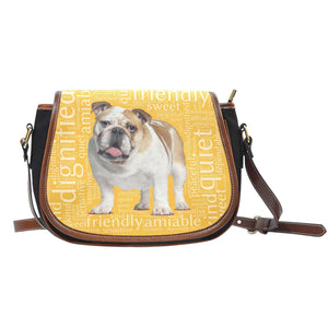 Designs by MyUtopia Shout Out:Bull Dog Word Cloud Canvas Saddlebag Style Crossbody Purse,Left Gold,Cross-Body Purse