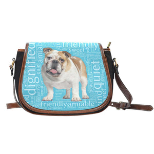 Designs by MyUtopia Shout Out:Bull Dog Word Cloud Canvas Saddlebag Style Crossbody Purse,Left Blue,Cross-Body Purse
