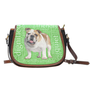Designs by MyUtopia Shout Out:Bull Dog Word Cloud Canvas Saddlebag Style Crossbody Purse,Left Green,Cross-Body Purse