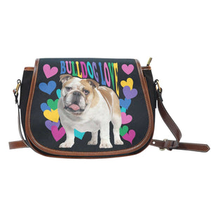 Designs by MyUtopia Shout Out:Bull Dog Word Cloud Canvas Saddlebag Style Crossbody Purse,Love - Black,Cross-Body Purse