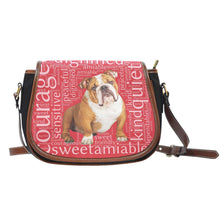 Load image into Gallery viewer, Designs by MyUtopia Shout Out:Bull Dog Word Cloud v2 Canvas Saddlebag Style Crossbody Purse,Right Red,Cross-Body Purse
